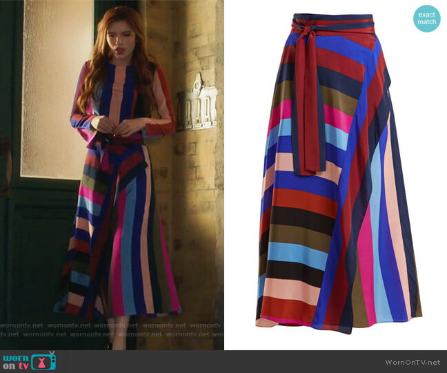 Draped Wrap Maxi Skirt by Diane von Furstenberg worn by Paige Townsen (Bella Thorne) on Famous in Love