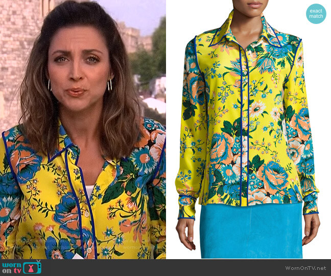 Floral-Print Long-Sleeve Silk Shirt by Diane von Furstenberg worn by Paula Faris on The View