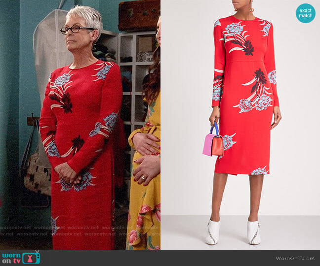 Diane von Furstenberg loral Sheath Dress worn by Jamie Lee Curtis on New Girl