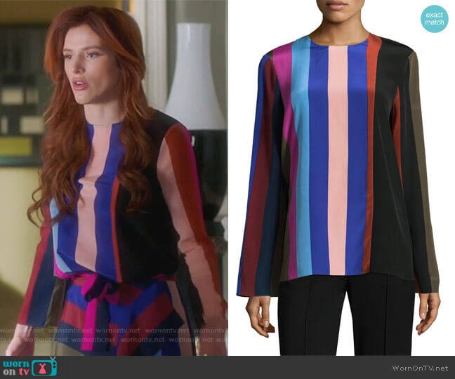 Printed silk-crepe top by Diane von Furstenberg worn by Bella Thorne on Famous in Love
