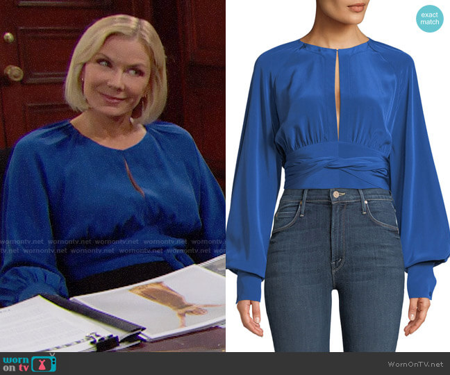 Diane von Furstenberg Blouson-Sleeve Silk Keyhole Blouse worn by Katherine Kelly Lang on The Bold & the Beautiful