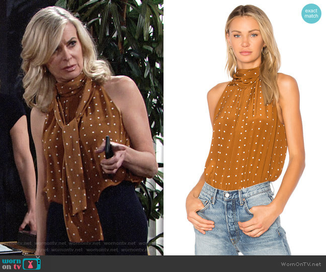 Diane von Furstenberg High Neck Tank in Arbor Dot Kola worn by Ashley Abbott (Eileen Davidson) on The Young & the Restless