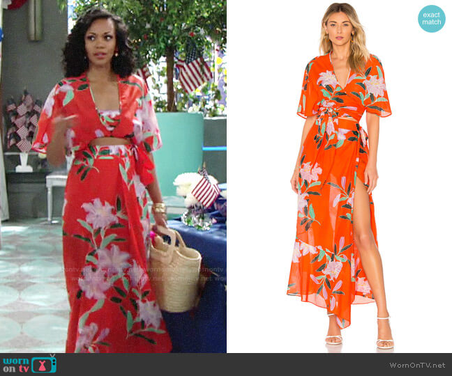 Diane von Furstenberg Tie Front Top and Wrap Beach Skirt worn by Hilary Curtis (Mishael Morgan) on The Young & the Restless
