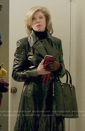 Diane's leather trench coat on The Good Fight