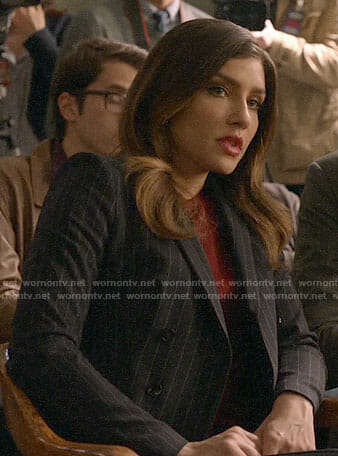 Dinah's pinstriped blazer on Arrow