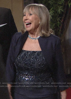 Dina's navy gown and jacket on The Young and the Restless