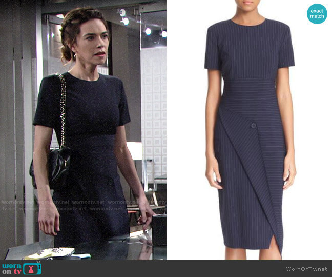 DKNY Pinstripe Asymmetrical Dress worn by Victoria Newman (Amelia Heinle) on The Young & the Restless