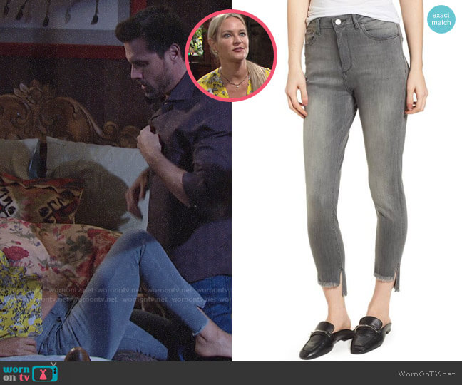 DL1961 Chrissy Trimtone High Waist Step Hem Skinny Jeans worn by Sharon Case on The Young & the Restless
