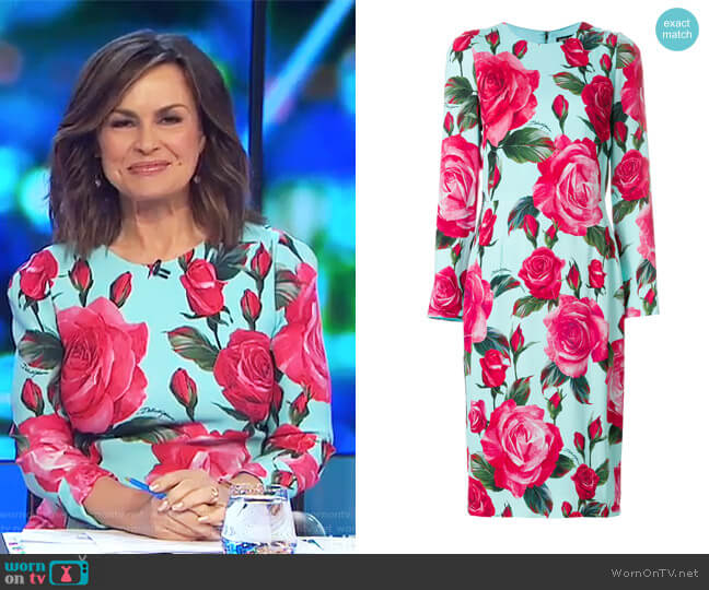 Large Rose Long Sleeved Shift Dress by Dolce & Gabbana worn by Lisa Wilkinson  on The Project