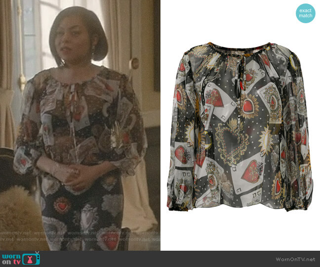 Playing Cards Print Blouse by Dolce & Gabbana worn by Taraji P. Henson on Empire