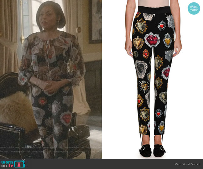 Sacred Heart Leggings by Dolce & Gabbana worn by Taraji P. Henson on Empire