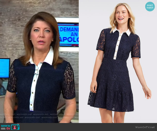 Meadow Lace Shirtdress by Draper James worn by Norah O'Donnell on CBS This Morning