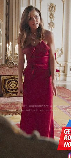 Princess Eleanor's red strapless gown on The Royals