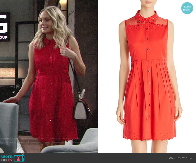 Elie Tahari Samiyah Mixed Media Shirt Dress worn by Melissa Ordway on The Young & the Restless