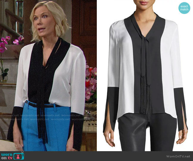 Elie Tahari Mavrick Blouse worn by Brooke Logan (Katherine Kelly Lang) on The Bold & the Beautiful