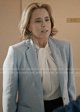 Elizabeth's light blue blazer on Madam Secretary