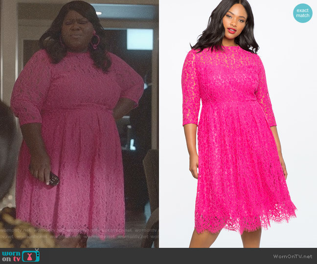 Lace Fit and Flare Dress by Eloquii worn by Gabourey Sidibe on Empire