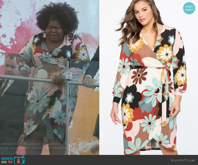 Printed Wrap Dress with Tie by Eloquii worn by Gabourey Sidibe on Empire
