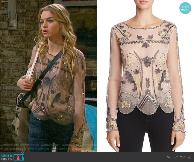 Endless Rose Embellished Mesh Top worn by Olivia Rose Keegan on Days of our Lives