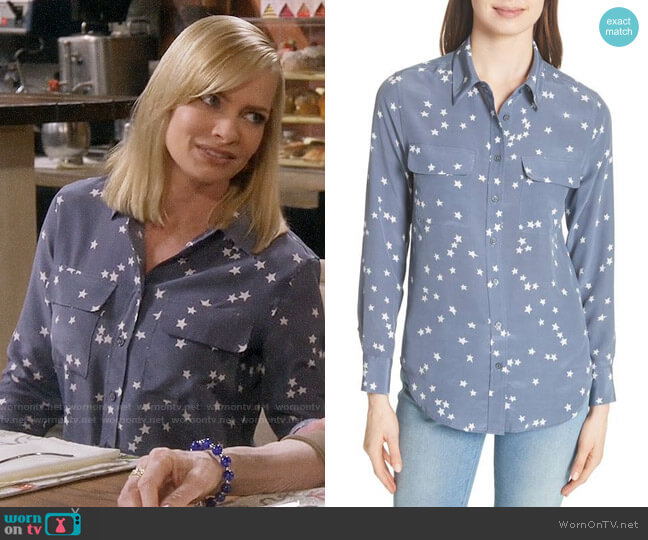 Equipment Starry Night Silk Shirt worn by Jaime Pressly on Mom