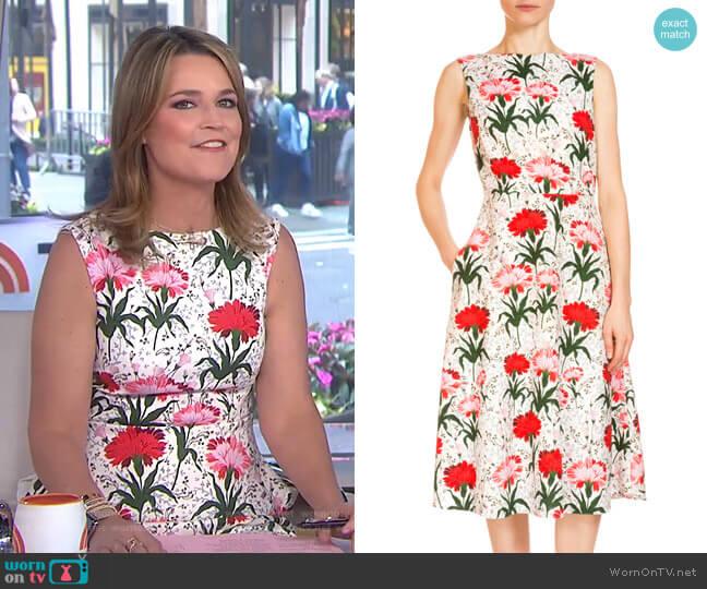 Maia Floral-Print Midi Dress by Erdem worn by Savannah Guthrie (Savannah Guthrie) on Today