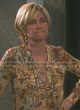 Eve's printed lace-up top on Days of our Lives