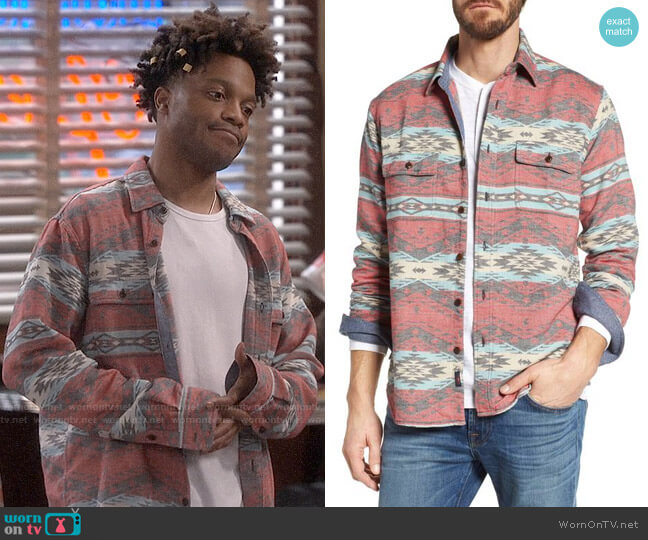 Faherty Belmar Work Shirt in Topeka Rail worn by Jermaine Fowler on Superior Donuts