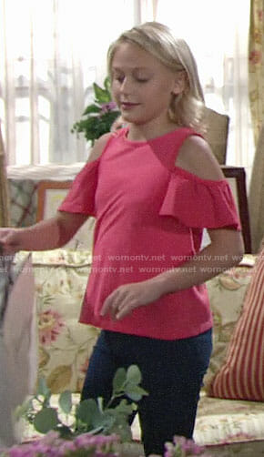 Faith's pink cold shoulder tee on The Young and the Restless