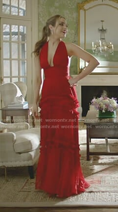 Fallon's red ruffled halter gown on Dynasty