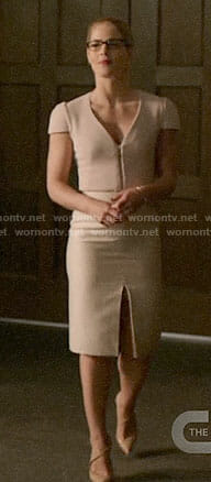 Felicity's pink v-neck sheath dress on Arrow