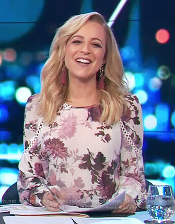 Carrie's floral print eyelet detailed blouse on The Project