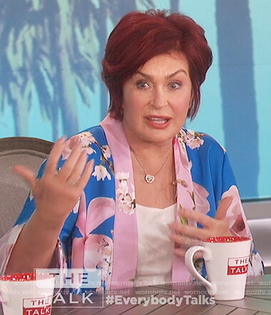 Sharon's blue floral print kimono jacket on The Talk