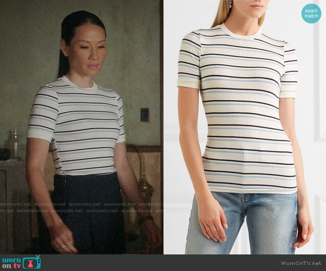 Frame Striped Ribbed Stretch-jersey T-shirt worn by Lucy Liu on Elementary