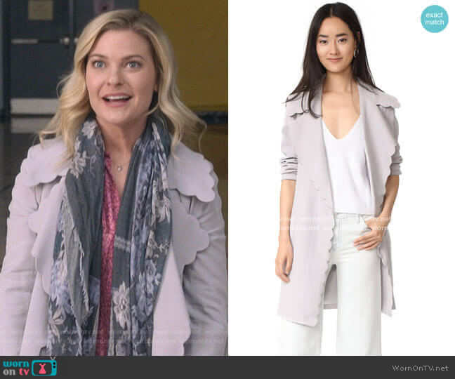 Frederrika Trench by Club Monaco worn by Stephanie Borden (Kylee Evans) on Good Witch