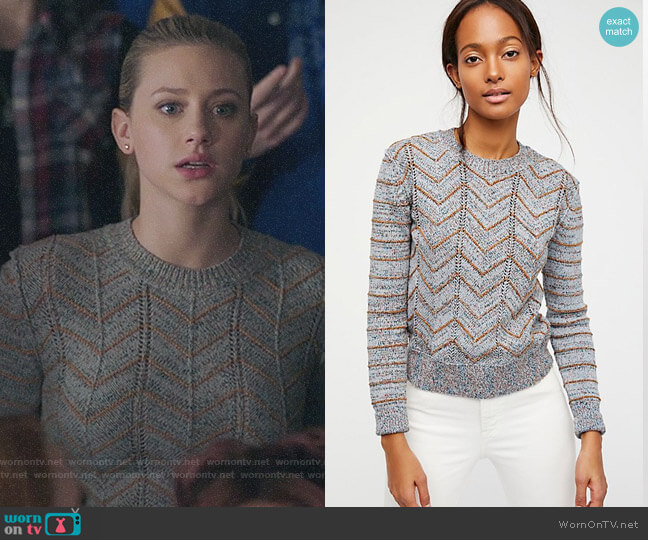 Free People Zig Zag Pullover worn by Lili Reinhart on Riverdale