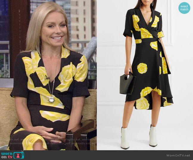 Floral-Print Washed-Silk Wrap Dress by Ganni worn by Kelly Ripa  on Live with Kelly & Ryan