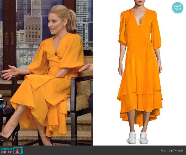 Wilkie Seersucker Wrap Dress by Ganni worn by Kelly Ripa on Live with Kelly & Ryan