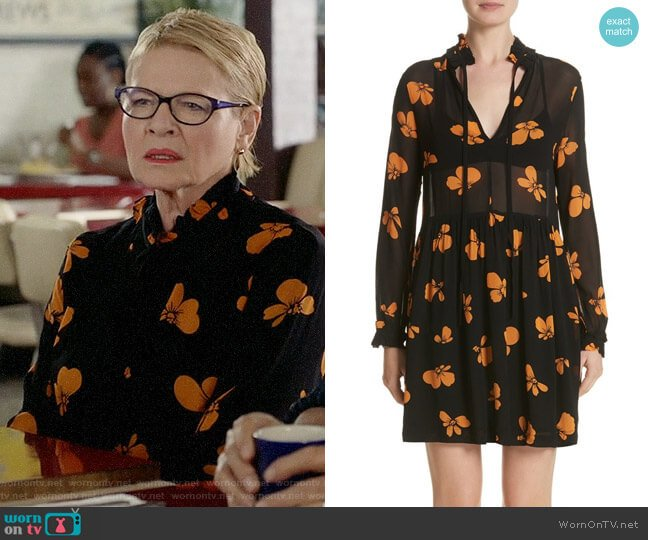 Ganni Fairfax Georgette Dress worn by Joan Short (Dianne Wiest) on Life in Pieces