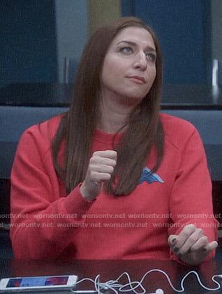 Gina's red sweatshirt with blue stripes on Brooklyn Nine-Nine