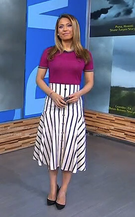 Ginger's white striped skirt on Good Morning America