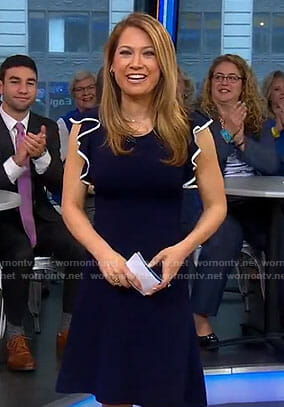 Ginger's navy ruffled sleeve dress on Good Morning America
