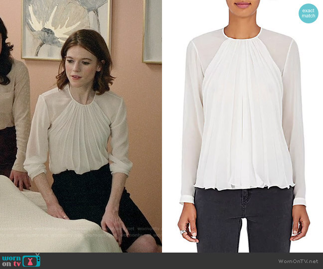 Giorgio Armani Pleated Mulberry Silk Blouse  worn by Rose Leslie on The Good Fight