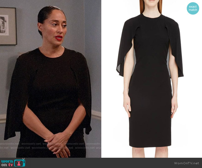 Givenchy Chiffon Cape Silk Georgette Dress worn by Rainbow Johnson (Tracee Ellis Ross) on Blackish
