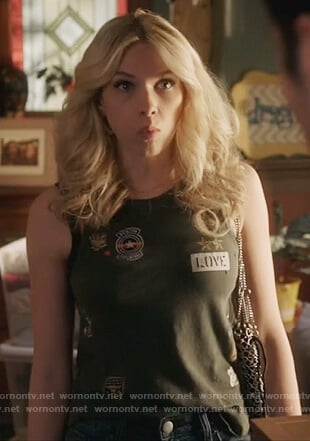 Billy's military patch tank top on Famous in Love