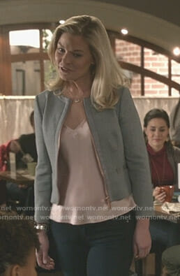 Stephanie's grey bow detail zip jacket on Good Witch