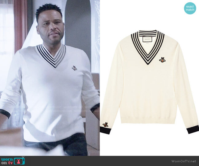 Gucci V-neck wool knit with bee worn by Anthony Anderson on Blackish