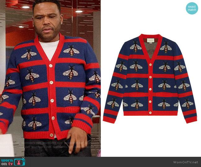 Gucci Bee Jacquard Wool Cardigan worn by Anthony Anderson on Blackish