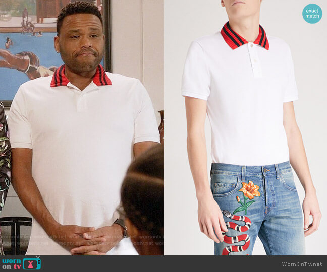Gucci Striped Collar Polo Shirt worn by Anthony Anderson on Blackish