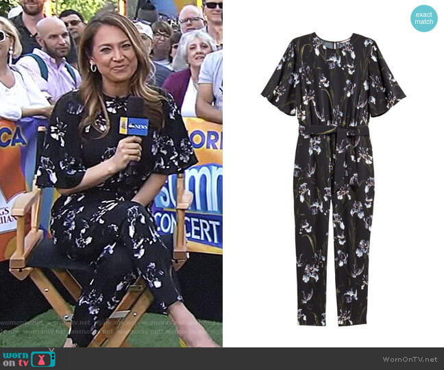 Patterned Jumpsuit by H&M worn by Ginger Zee (Ginger Zee) on Good Morning America