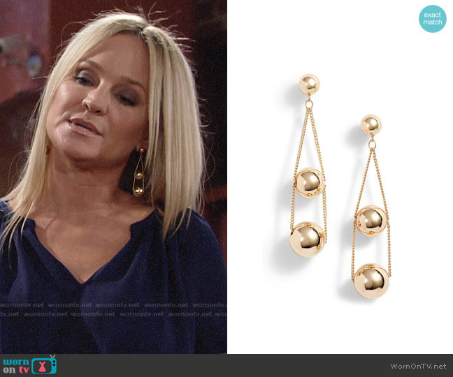 Halogen Triple Sphere Chain Drop Earrings worn by Sharon Case on The Young & the Restless